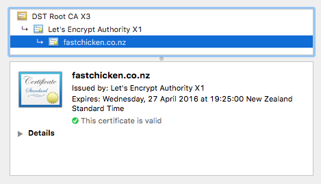 Certificate chain from Chrome