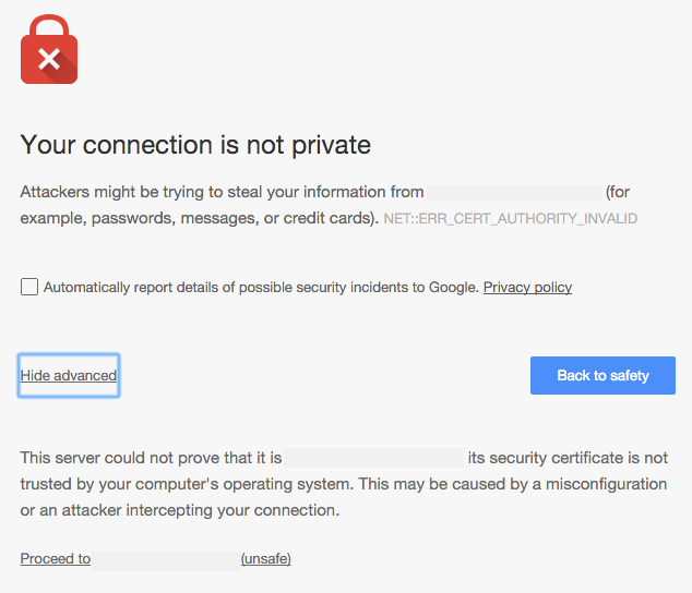 Chrome SSL error page