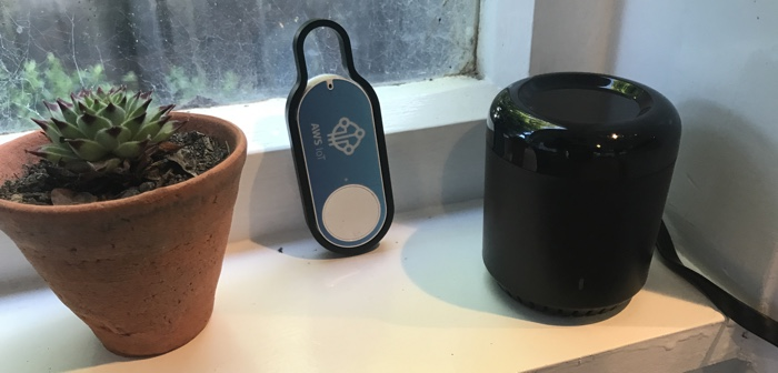 Dash Button, Broadlink RM3 Mini, and a small plant