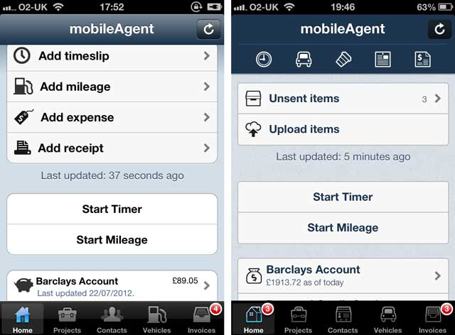 Shot of mobileagent 1.9 vrs 2.0